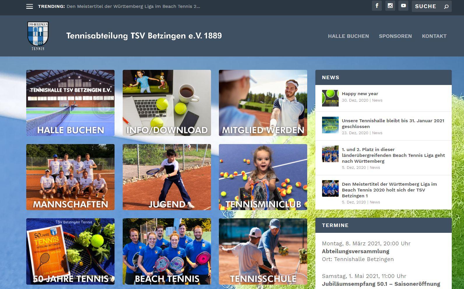 Die neue eigene Homepage Tennisabteilung präsentiert sich seit Kurzem im Netz