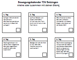 Bewegungskalender TSV Betzingen für Kids