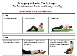 Bewegungskalender TSV Betzingen