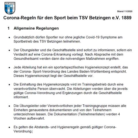 Corona-Regeln für den Sport beim TSV Betzingen e.V. 1889