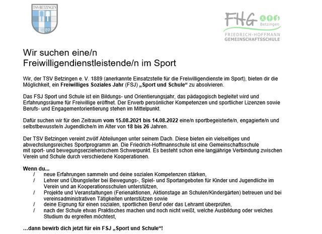 Stellenangebot Freiwilligendienstleistende/n im Sport